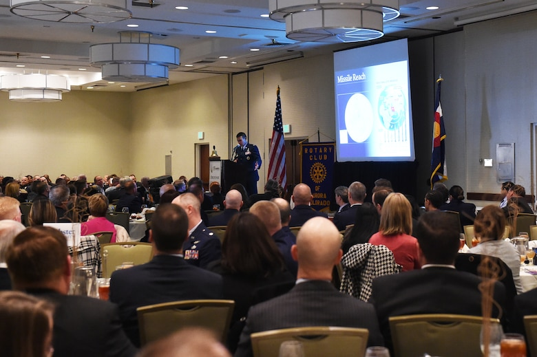 Aurora community leaders listen as Col. John Wagner, 460th Space Wing commander, delivers his State of the Base speech Jan. 21, 2015, at the DoubleTree by Hilton in Aurora, Colo. During the speech, Wagner discussed the base's mission and current and upcoming events for Team Buckley, along with the base's economic impact on the community, Aurora Rotary and Aurora Chamber of Commerce. (U.S. Air Force photo by Airman 1st Class Samantha Saulsbury/Released)