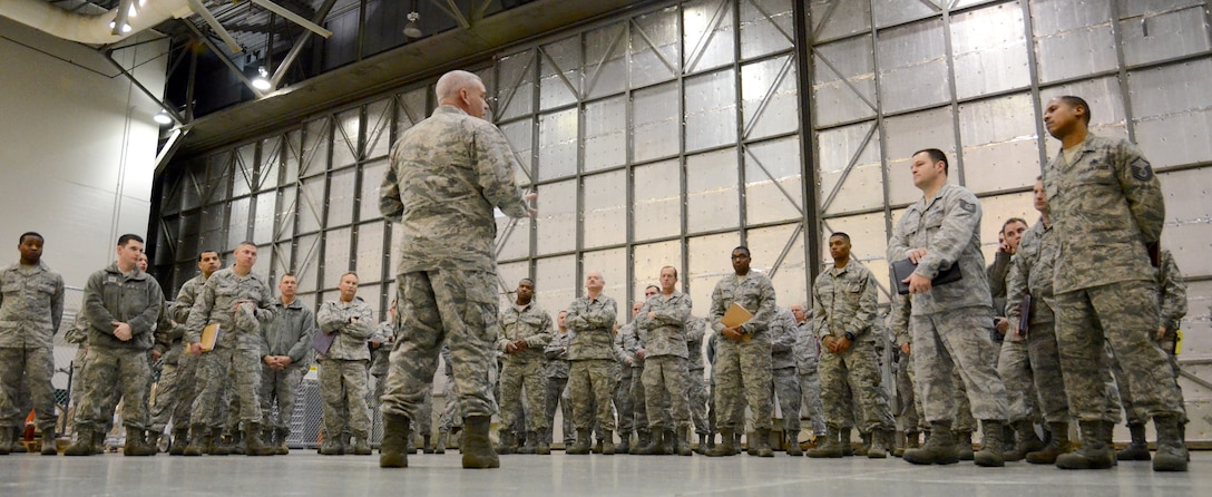 94th Maintenance Group personnel receive an early morning briefing in preparation for their up-coming Southwest Asia deployment, Jan. 2, 2015 at Dobbins Air Reserve Base, Ga.  (U.S. Air Force photo/Brad Fallin)