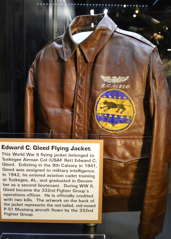 DAYTON, Ohio -- This World War II flying jacket belonged to Tuskegee Airman Col. (Ret.) Edward C. Gleed and is on display in Tuskegee Airmen exhibit in the WWII Gallery at the National Museum of the U.S. Air Force. (U.S. Air Force photo)