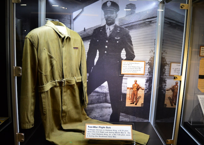 DAYTON, OH --Tuskegee Airman Lt. Haldane King, a B-25 pilot, wore this A-4 flight suit during World War II. His son, Capt. Haldane King Jr., a KC-135 pilot, wore it during the Southeast Asia War. This flight suit is on display in Tuskegee Airmen exhibit in the WWII Gallery at the National Museum of the U.S. Air Force. (U.S. Air Force photo)