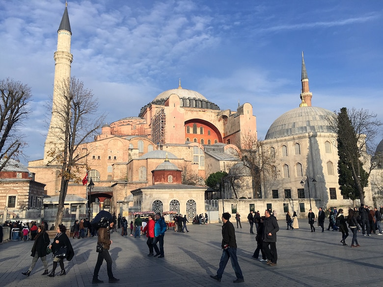 Originally built as a Greek Orthodox patriarchal basilica, the Hagia Sophia is now a museum in the heart of Istanbul. The church contains a large collection of holy relics and is located near the Blue Mosque and Basilica Cistern. (U.S. Air Force photo by Senior Airman Michael Battles/Released)