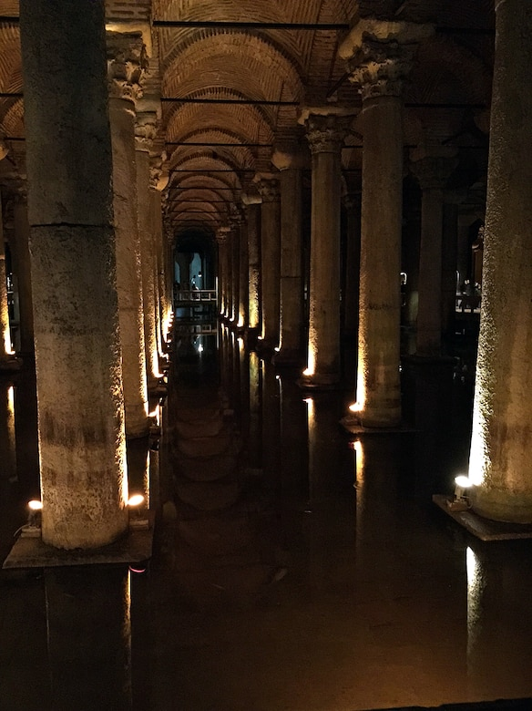 The Basilica Cistern, the largest cistern buried under the city of Istanbul, also hides two oversized emerald green Medusa heads. Of unknown origins, the heads are one of the most visited sites in Istanbul. (U.S. Air Force photo by Senior Airman Michael Battles/Released)
