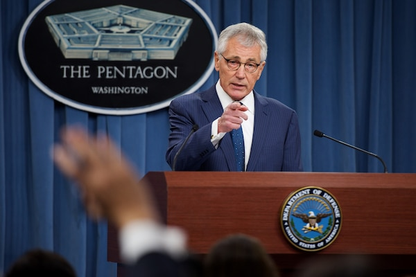 Defense Secretary Chuck Hagel conducts a news conference at the Pentagon, Jan. 22, 2015. DoD photo by Casper Manlangit
