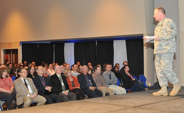 During the Jan. 23 Town Hall, Huntsville Center Commander Col. Robert J. Ruch discussed his priorities, thanked employees for their efforts and answered questions about upcoming building renovations, fitness center access and employee incentive awards.