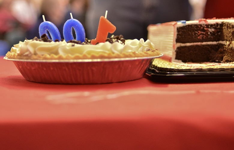 """A pie decorated with candles signifies the 100th birthday of U.S. Army Air Corps and Air Force veteran, George """"Bud"""" Garvin, during a celebration at Spokane Veterans medical Center, Jan. 21, 2015, Spokane, Wash. Garvin said in his 100 years alive he never liked cake prompting Veterans Medical Center staff to specialize a pie for his celebration. (U.S. Air Force photo by Staff Sgt. Alexandre Montes)"""