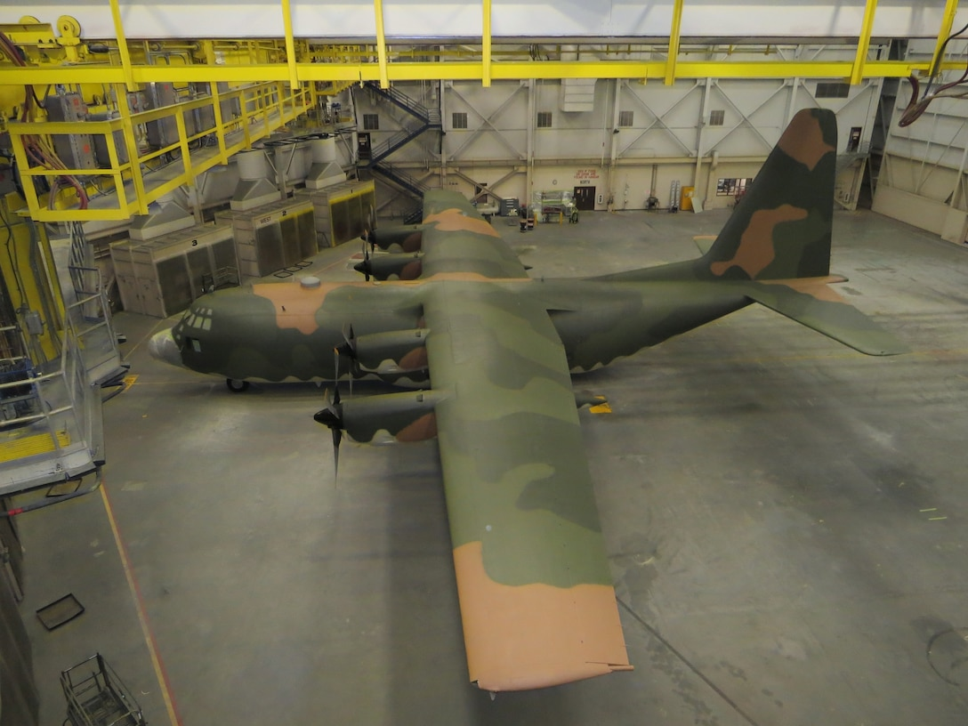 Airmen from the 62nd Maintenance Squadron spent more than two months repainting a C-130 Hercules in the Vietnam-era camouflage scheme.  The aircraft was painted for the McChord Air Museum and will be on display in the McChord Air Park in the near future. (Courtesy photo)