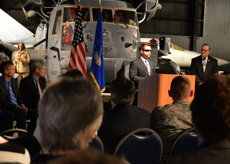 "DAYTON, Ohio -- SSgt.(Ret.) Mike Malarsie speaks at the ""Duty First, Always Ready"" exhibit opening on Jan. 23, 2015 in the Cold War Gallery at the National Museum of the U.S. Air Force. (U.S. Air Force photo)"