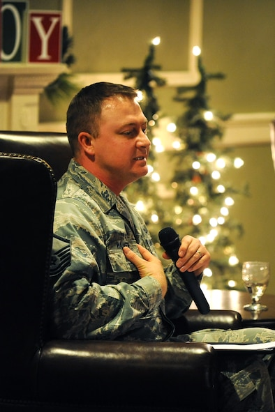 U.S. Air Force Master Sgt. John Walker, 55th Wing Chaplain's office, opens up about his Post Traumatic Stress Disorder following his tours to Iraq during the inaugural Story Tellers event called 'The Long and Short of it' held on Dec. 16 at the Patriot Club on Offutt Air Force Base, Neb.  A total of four Airmen spoke about a wide range of topics in this story telling mentorship event.  (U.S. Air Force photo by Josh Plueger/Released)
