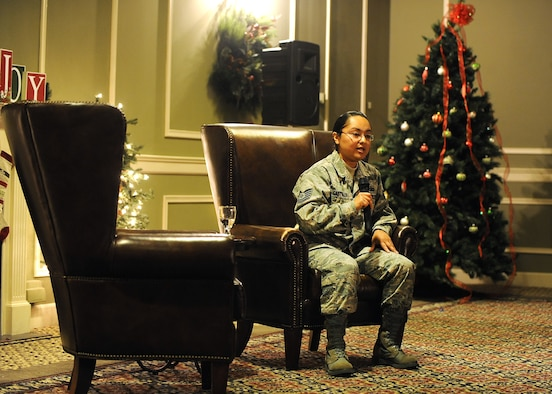 U.S. Air Force Tech. Sgt. Galicia Castillo, 55th Wing command post, opened up during the inaugural Story Tellers event called 'The Long and Short of it' held on Dec. 16 at the Patriot Club on Offutt Air Force Base, Neb. Castillo spoke about her struggles with depression and the help she sought and how it affected her career.   (U.S. Air Force photo by Josh Plueger/Released)