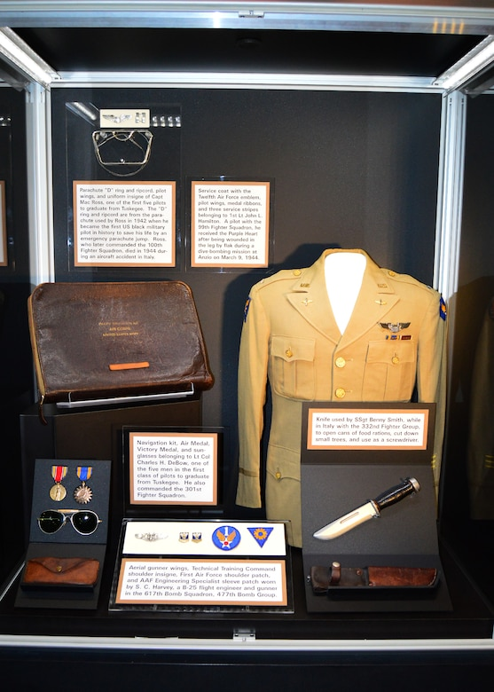 DAYTON, Ohio -- Various artifacts on display in the Tuskegee Airmen Exhibit in the WWII Gallery at the National Museum of the U.S. Air Force. (U.S. Air Force photo)