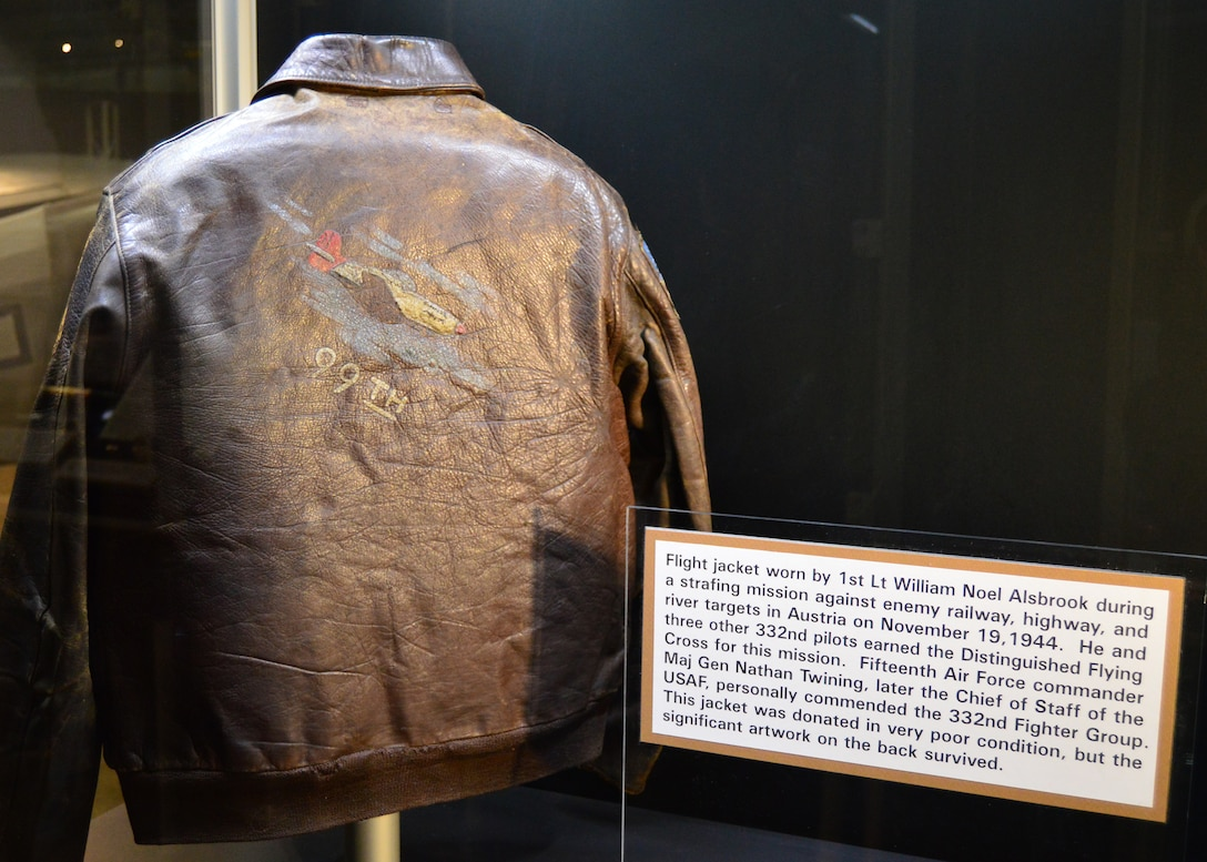 DAYTON, Ohio -- The flight jacket worn by 1st Lt. William Noel Alsbrook during a strafing mission against enemy railway, highway, and river targets in Austria on November 19, 1944.This jacket is on display in theTuskegee Airmen Exhibit in the WWII Gallery at the National Museum of the U.S. Air Force. (U.S. Air Force photo)