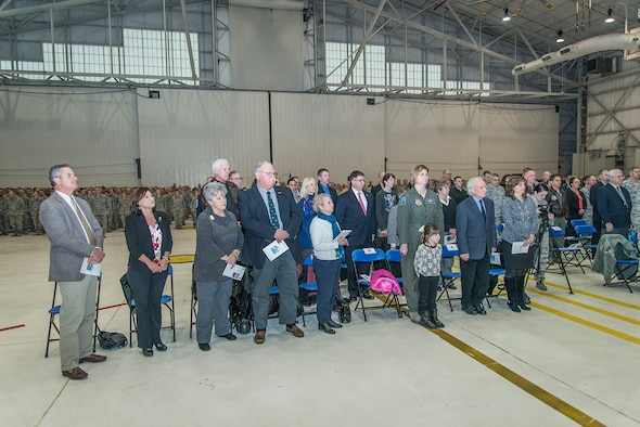 Many of Col. Kilgore's friends and family attended the Change of Command ceremony held at the Niagara Falls Reserve Station as Col. Robert G. Kilgore took over as the new Wing commander of 107th Airlift Wing Jan. 24, 2015. (U.S. Air National Guard Photo/Staff Sergeant Ryan Campbell)