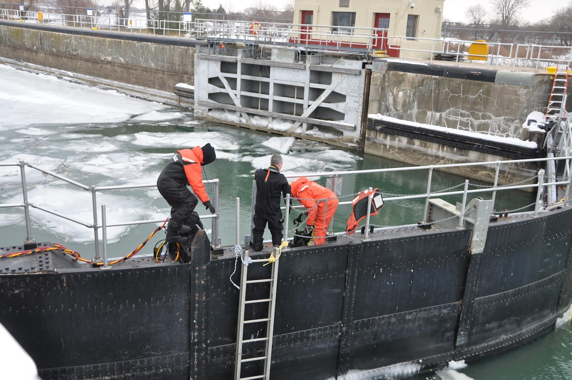 In preparation of the upcoming maintenance, the U.S. Army Corps of Engineers, Buffalo District Dive Team ventured under the water in the Black Rock Lock to seal off the lock chamber.