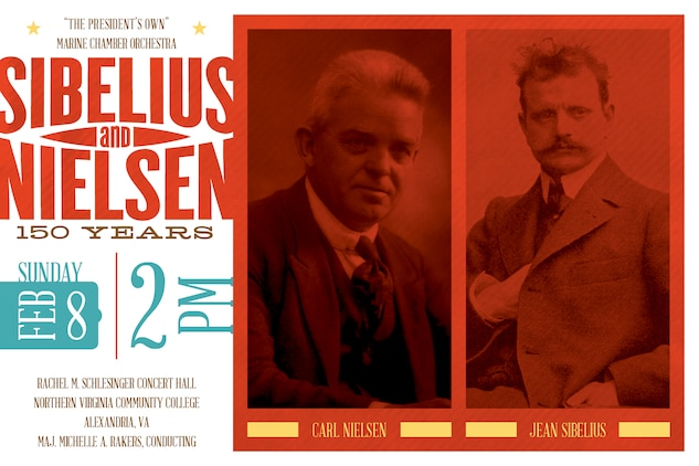 "Feb. 8 at 2 p.m. EST - Carl Nielsen was credited with stating, ""Music is the sound of life;"" so join us to celebrate the lives and contributions of two Nordic champions of the romantic era. Jean Sibelius and Carl Nielsen were not only contemporaries, but also two of Europe's most influential musicians. Sibelius was deeply inspired by nature while Nielsen was questioning his humanism post WWI, and both composers' abilities to convey their inspiration and deepest compassions is unquestioned. The concert will include Sibelius' Suite No. 2 from The Tempest, Opus 109 and Suite from Pelléas et Mélisande, Opus 46, as well as Staff Sgt. Patrick Morgan performing Nielsen's Clarinet Concerto, Opus 57. The concert is free and will be held at the Schlesinger Concert Hall in Alexandria, Va.; no tickets are required."