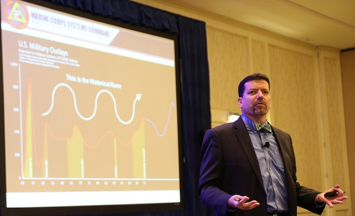 Jim Smerchansky, Marine Corps Systems Command executive director, talks about career paths at the Naval Acquisition Development Program Annual Training Symposium in Crystal City, Virginia.