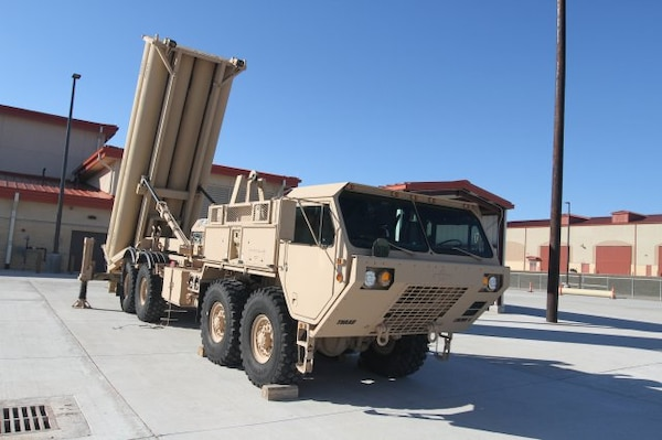 A Terminal High Altitude Area Defense (THAAD) mobile launcher sits on display in the new Lt. Gen. C.J. LeVan THAAD Instructional Facility at Fort Sill, Okla. Jan. 23 during the ribbon cutting and dedication ceremony. The facility will graduate 200 THAAD-qualified student a year for the three THAAD batteries now on active duty with a fourth expected later this year.