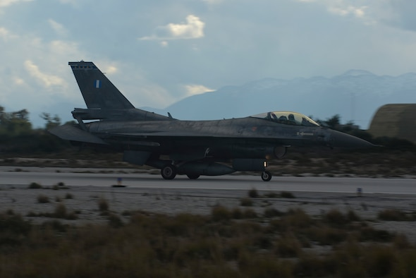 A Hellenic air force F-16 Fighting Falcon fighter aircraft from the 343rd Fighter Squadron lands on the flightline January 26, 2015, at Souda Bay, Greece. The aircraft flew during training operations as part of a flying training deployment between the Greek and U.S. air forces. (U.S. Air Force photo/Staff Sgt. Joe W. McFadden)