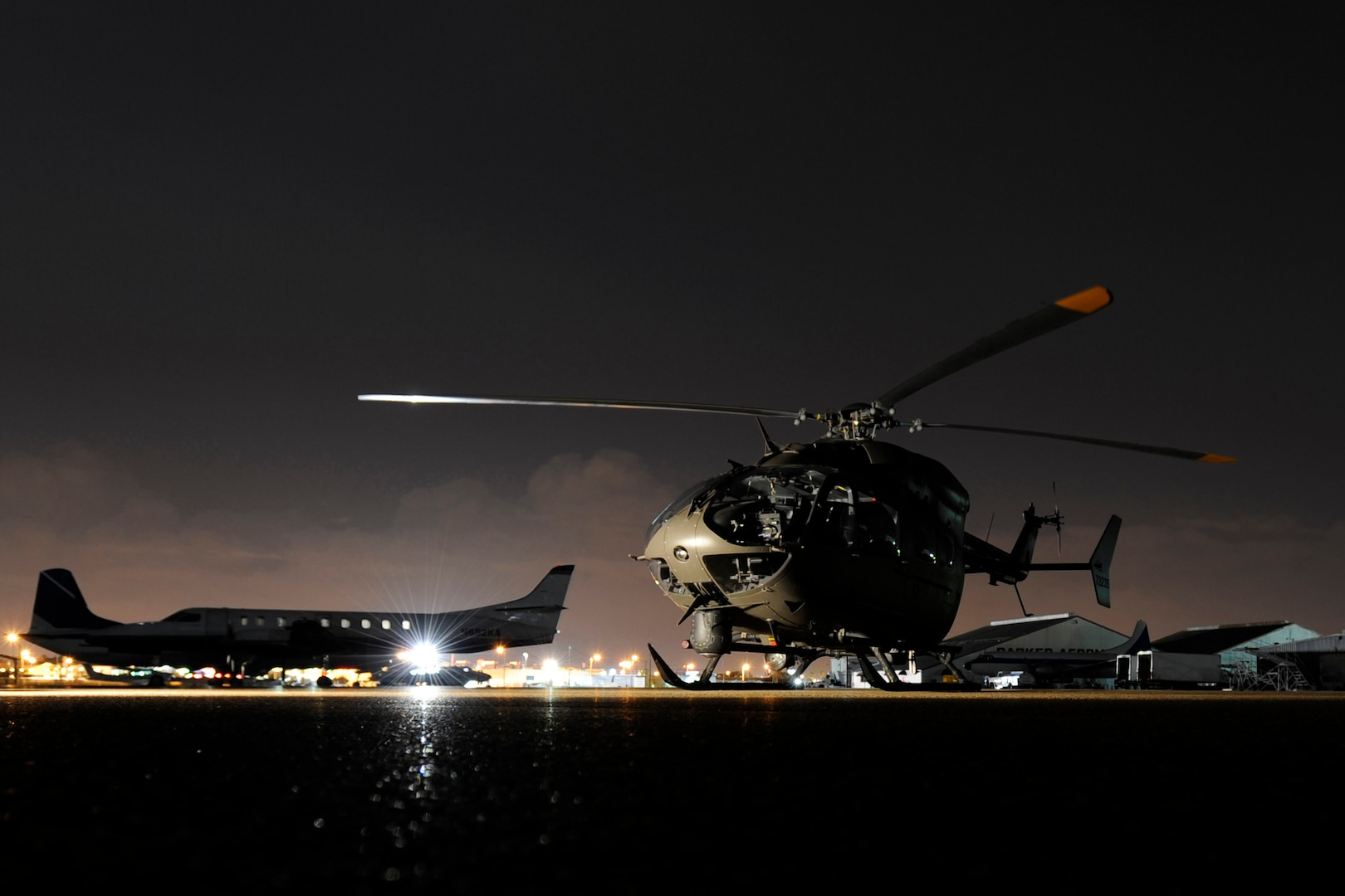 A National Guard UH-72 Lakota helicopter prepares to fly in support of Customs and Border Protection (CBP)-led Operation Phalanx. National Guardsmen from across the country assist CBP in disrupting transnational criminal organizations and drug trafficking organizations by conducting aerial detection and monitoring along the U.S.-Mexico border in support of Operation Phalanx and the U.S. Department of Homeland Security.