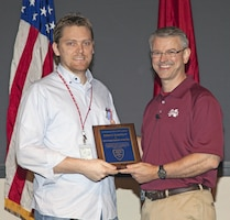 ERDC-GSL Director David Pittman (right) presented Robert Browning IV with the 2014 Young Engineer of the Year for the Mississippi Section of the American Society of Civil Engineers.