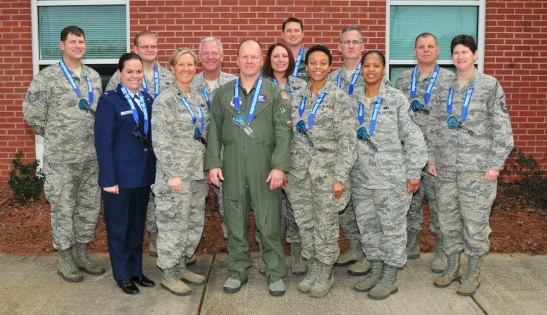 Congratulations to the members of the 172d Airlift Wing who participated in the Mississippi Blues Marathon on Saturday January 10th. Members pictured from left to right back row are TSgt Matthew Tucker, A1C Matthew Hankins, SMSgt James Ellis, Maj Denise Hall, MSgt Oliver Yeatts, SMSgt Robert Majors and SMSgt Kerry Walker. From left to right front row are 2dLt Julia Conley, Lt Col Keri Villemarette, MSgt Robert Lundy, A1C Jaelrbeiret Williams, SMSgt Betty Rice, and MSgt Catrina Wilson.