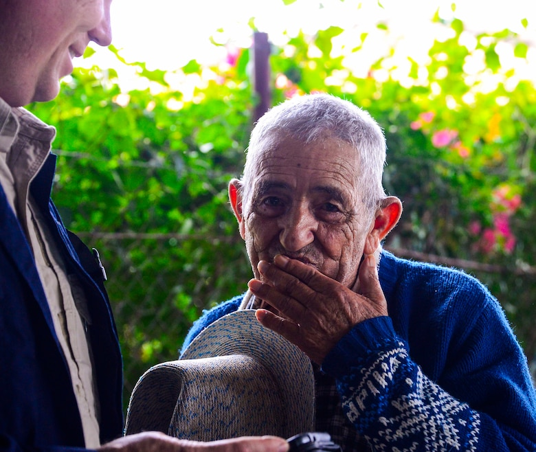 U.S. Army Capt. Mike Pratt, assigned to Joint Task Force-Bravo's Medical Element, visits with one of the elderly tenants of the Sisters of Charity Orphanage in Comayagua, Honduras, Jan. 25, 2015. The Sisters of Charity Orphanage is one of seven different orphanages from around the Comayagua Valley that the U.S. military personnel assigned to JTF-Bravo have supported over the past 17 years. In addition to spending time with interacting with children, members have also collected and donated much-needed supplies and food, as well as helped in minor construction work on the buildings in which the children live. (U.S. Air Force photo/Tech. Sgt. Heather Redman)