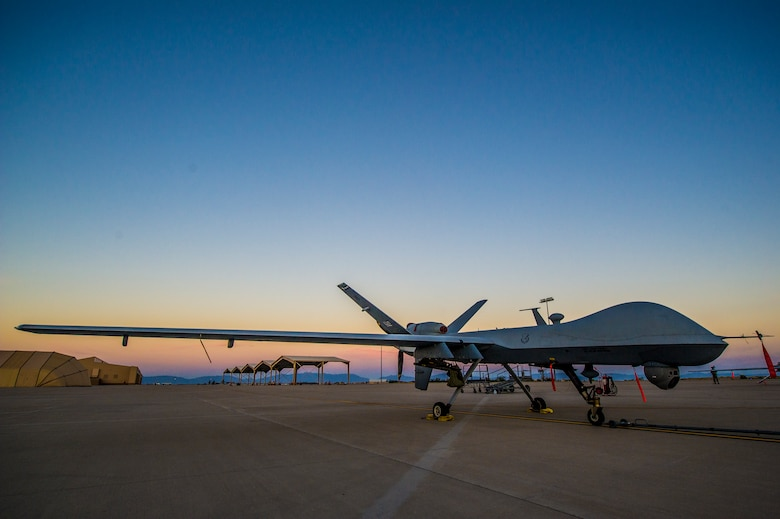 An MQ-9 Reaper sits on the flight line of Holloman Air Force Base, N.M., Jan. 27. The MQ-9 is involved in remote split-operations which allows Airmen at Ellsworth Air Force Base, S.D.,to fly and train on aircraft shared with Holloman AFB. (U.S. Air Force photo by Airman 1st Class Aaron Montoya/released)