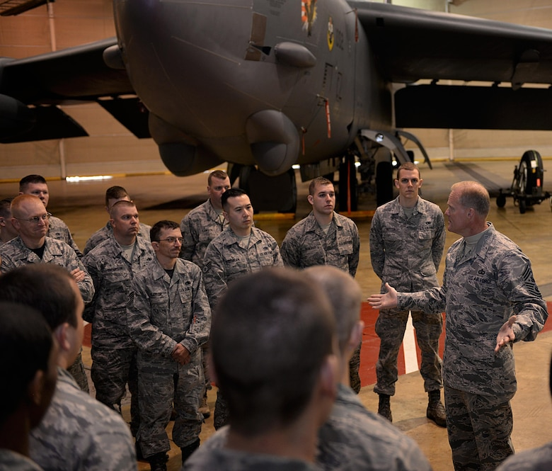 Chief Master Sgt. of the Air Force James A. Cody speaks with Airmen from the 2nd Maintenance Squadron Jan. 23, 2015, at Barksdale Air Force Base, La. Cody answered Airmen's questions and also spoke about the changes on the new enlisted performance reviews. (U.S. Air Force photo/Airman 1st Class Curt Beach)