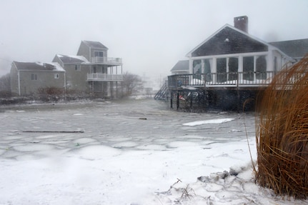 Flooded ares of Scituate, Jan. 27, 2015. Massachusetts Guard members were called to duty to support local and state agencies during the Winter Storm Juno response and rescued some residents from high water.