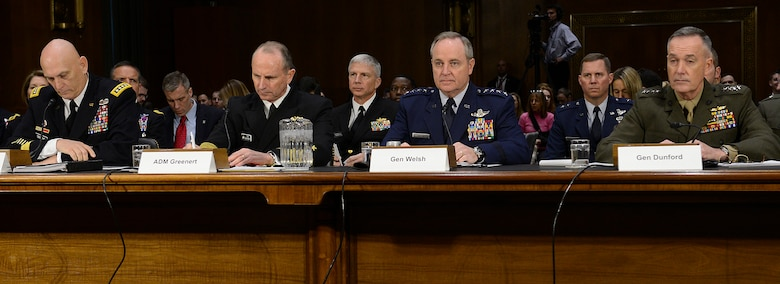 Air Force Chief of Staff Gen. Mark A. Welsh III testifies before the Senate Armed Services Committee Jan. 28, 2015, in Washington, D.C. Welsh testified with fellow service leaders: Chief of Staff of the Army Gen. Raymond Odierno, Chief of Naval Operations Adm. Jonathan W. Greenert and Commandant of the Marine Corps Gen. Joesph F. Dunford Jr. (U.S. Air Force photo/Scott M. Ash)
