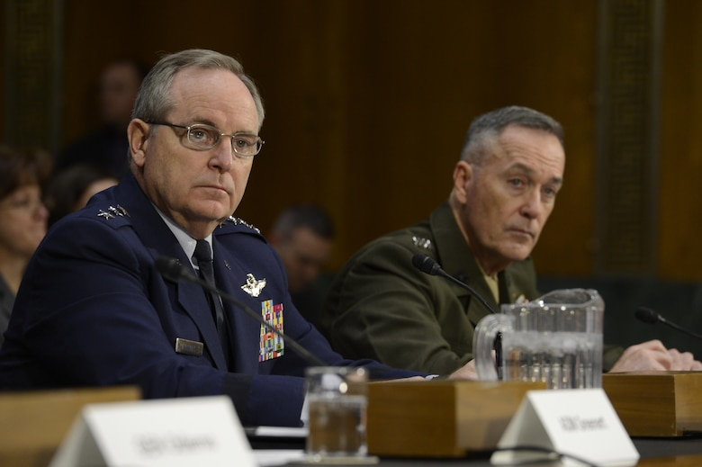 Air Force Chief of Staff Gen. Mark A. Welsh III testifies before the Senate Armed Services Committee Jan. 28, 2015, in Washington, D.C., as Commandant of the Marine Corps Gen. Joesph F. Dunford Jr., looks on. Other service leaders present during the hearing were Chief of Staff of the Army Gen. Raymond Odierno and Chief of Naval Operations Adm. Jonathan W. Greenert. (U.S. Air Force photo/Scott M. Ash)