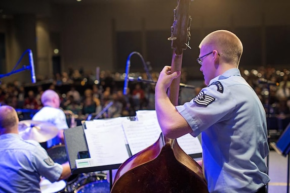 Technical Sgt. Cameron Kayne performs with the Airmen of Note at the Midwest Band and Orchestra Clinic in Chicago, Ill. for a new music reading session, Friday December 19, 2014. (U.S. Air Force photo by Technical Sgt. Matthew Shipes).