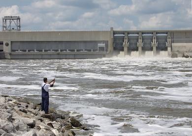 Fisherman below Truman Dam