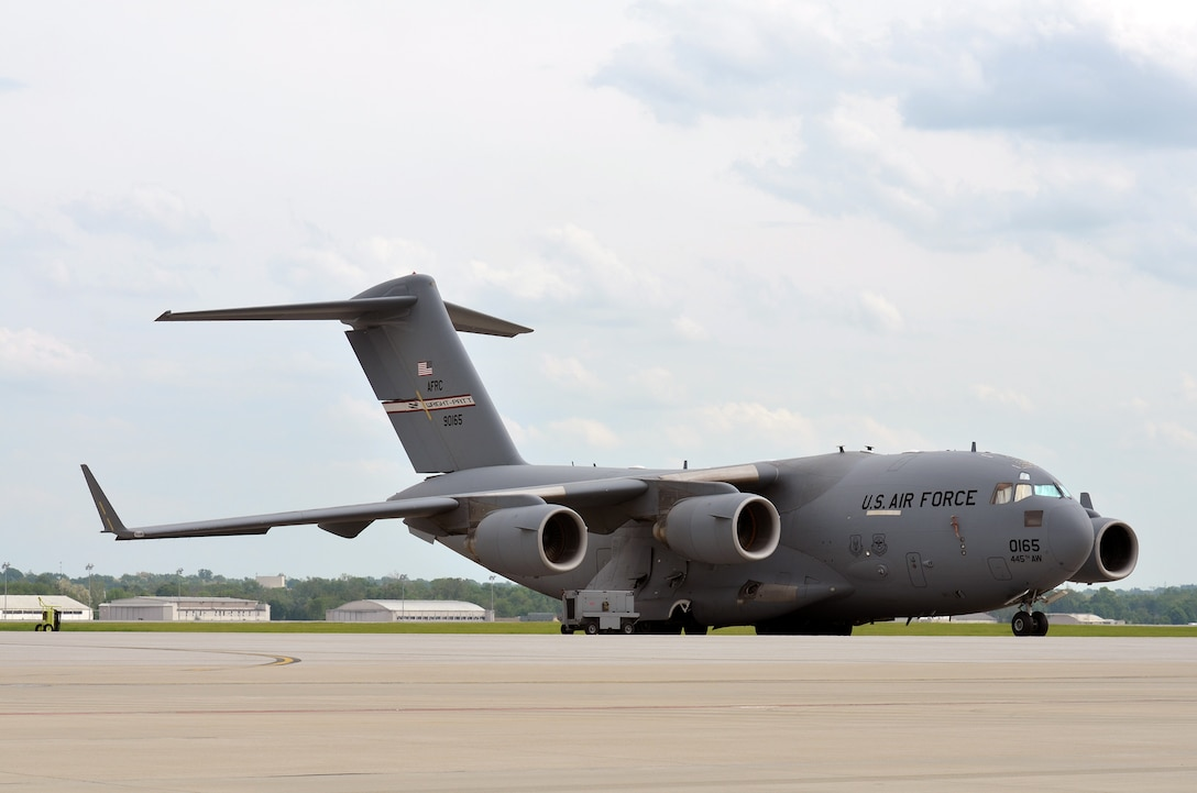 A 445th Airlift Wing C-17 Globemaster III experienced an engine malfunction causing a rare tail pipe fire Jan. 7, 2015. The wing currently has nine C-17 Globemaster III aircraft. (U.S. Air Force file photo/Staff Sgt. Mikhail Berlin)