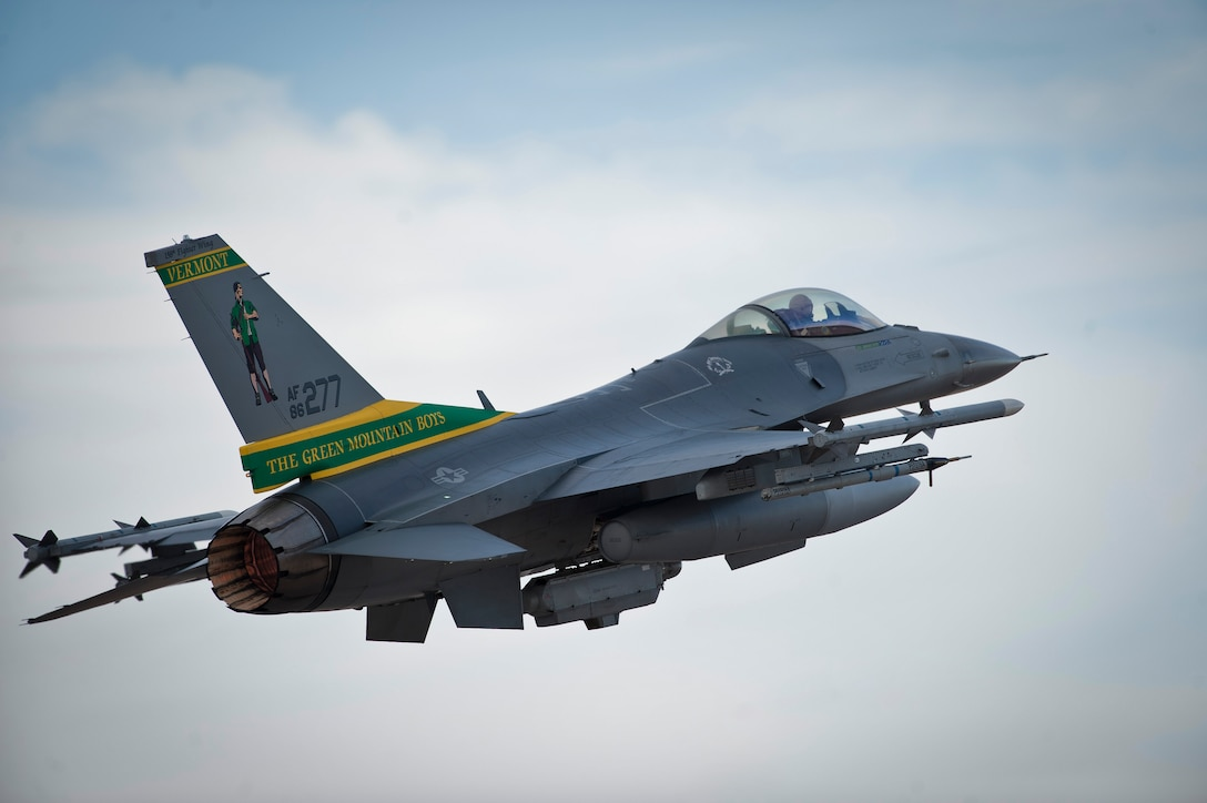 An F-16 Fighting Falcon launches during Red Flag 15-1 Jan. 26, 2015, at Nellis Air Force Base, Nev. Red Flag provides an opportunity for Air National Guard aircrew and maintainers to enhance their tactical operational skills alongside units from around the Air Force. The F-16 is assigned to the 134th Fighter Squadron, Burlington Air National Guard Base, Burlington, Vt. (U.S. Air Force photo/Staff Sgt. Siuta B. Ika)