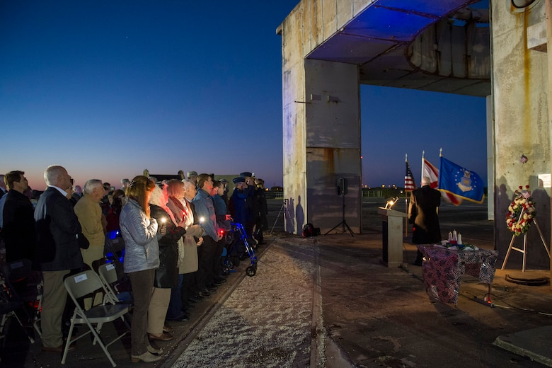 "Members of an audience honor three former space pioneers at the 48th annual Apollo 1 Memorial Ceremony Jan. 27, 2015, at Cape Canaveral Air Force Station, Fla. The ceremony honored the lives of the three crew members, Command Pilot Virgil ""Gus"" Grissom, Senior Pilot Edward H. White II and Pilot Roger B. Chaffee, who were killed by a flash fire during a launch pad test of their Saturn 1B rocket, Jan. 27, 1967.  (U.S. Air Force photo/Matthew Jurgens)"