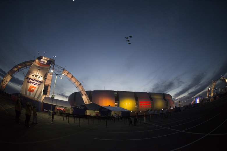 Four F-35 Lightning IIs perform the first-ever F-35 aircraft flyover, opening the 2015 NFL Pro Bowl game Jan. 25, 2015, at the University of Phoenix Stadium in Glendale, Ariz. The F-35s assigned to the 61st Fighter Squadron at Luke Air Force Base, Ariz. (U.S. Air Force photo/Staff. Sgt. Nestor Cruz )