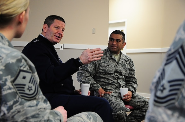Gen. Robin Rand, Commander of Air Education Training Command, and Chief Master Sgt. Gerardo Tapia, AETC Command Chief, host a question-and-answer session with all Columbus Air Force Base chiefs and first sergeants in the Base Chapel Annex Jan. 23, 2015. Rand and Tapia imparted the wisdom of their position and experience to help answer questions Columbus AFB leadership struggle with. (U.S. Air Force photo by Airman John Day)