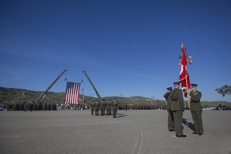 Camp Pendleton, CA – LtCol Hunter R. Rawlings assumes command of the Dark Horse, 3rd Battalion, 5th Marine Regiment, 1st Marine Division, I Marine Expeditionary Force, during a change of command ceremony aboard Marine Corps Base Camp Pendleton, CA 14 January, 2015.  LtCol Rawlings assumed command from LtCol Robert C. Rice, following the Battalion's recent return from deployment as the Battalion Landing Team for the 31st Marine Expeditionary Unit . Here the outgoing and incoming commanders transfer the Battalion Colors in the presence of the Battalion Sergeant Major, Sergeant Major Carlos Ruiz.