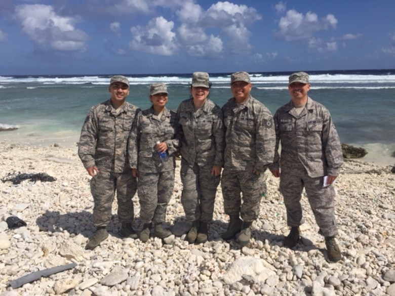 U.S. Air National Guard members from the 146th Force Support Squadron explore Wake Island on a short refueling layover enroute to Guam on January 26, 2015. (U.S. Air National Guard photo by Airman 1st Class Madeleine Richards/Released)