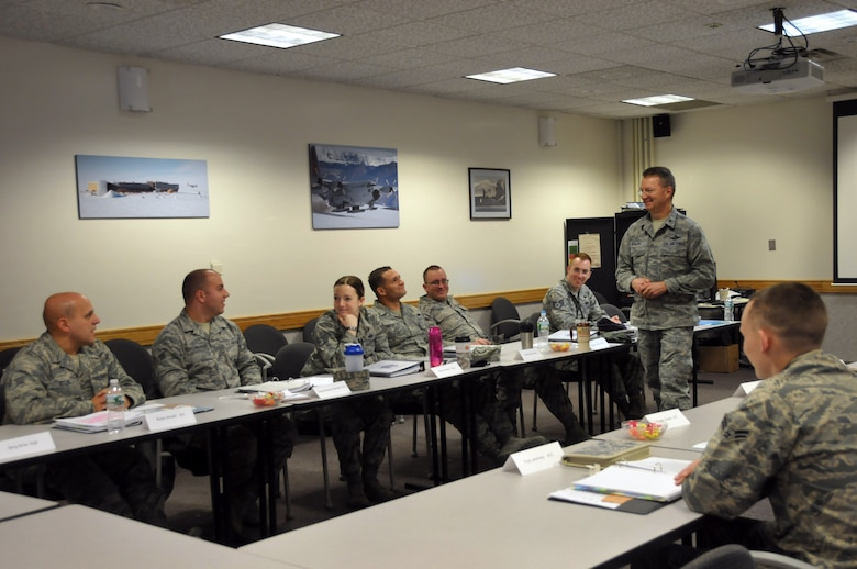 Brig. Gen. Anthony German, New York Air National Guard chief of staff, talks to Airmen during the 109th Airlift Wing's first Airman Development Course at Stratton Air National Guard Base, N.Y., on  Jan. 30, 2015. 14 Airmen throughout the base took the three-day course Jan. 28-30, 2015. The course covered topics on public speaking, Air Force heritage, 109th AW history, teambuilding, conflict resolution, the evaluation process, financial and educational benefits, and more. (U.S. Air National Guard photo by Tech. Sgt. Catharine Schmidt/Released)