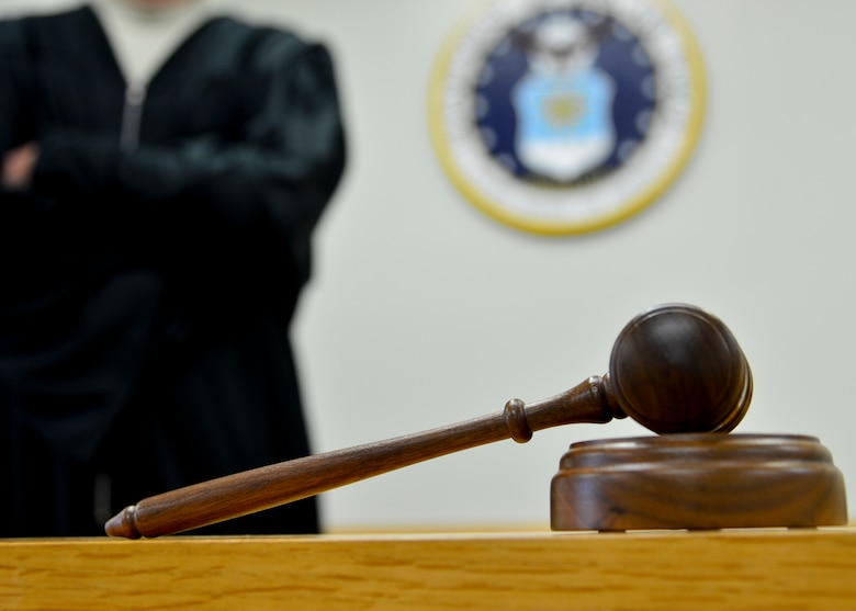 A gavel sits on display in a military courtroom Jan. 29, 2014, at Dover Air Force Base, Del. Courts-martial are held at the 436th Airlift Wing Legal Office and are open for Airmen and the public to view. (U.S. Air Force photo/Airman 1st Class William Johnson)