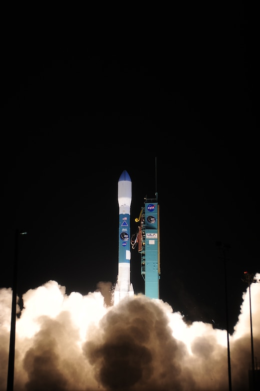 A United Launch Alliance Delta II rocket successfully launches from Vandenberg Air Force Base Space Launch Complex-2, Jan. 31, 2015 at 6:22 a.m. PDT. This Delta II rocket carried NASA's Soil Moisture Active Passive; the first Earth observing satellite. SMAP is designed to collect global observations of surface soil moisture and its freeze/thaw state. High resolution space-based measurements of soil moisture and whether the soil is frozen or thawed will give scientists a new capability to observe and predict natural hazards of extreme weather, climate change, floods and droughts, and will help reduce uncertainties in the understanding of Earth's water and carbon cycles. (U.S. Air Force photo by Joe Davila/Released)