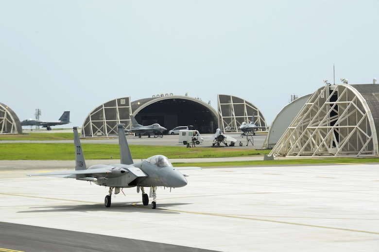 A U.S. Air Force F-15 Eagle from the 44th Fighter Squadron taxis after landing during a large force exercise on Kadena Air Base, Japan, July 30, 2015. The fighter jets were in charge of gaining air superiority while protecting ground troops and rescue helicopters during the exercise. (U.S. Air Force photo by Airman 1st Class Zackary A. Henry/Released)
