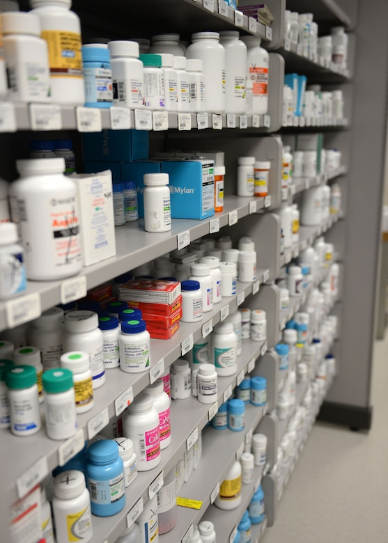 The 36th Medical Support Squadron pharmacy holds more than 500 medications in its supply. On average, the pharmacy fills and dispenses 150 prescriptions a day. (U.S. Air Force photo by Airman 1st Class Joshua Smoot/Released)