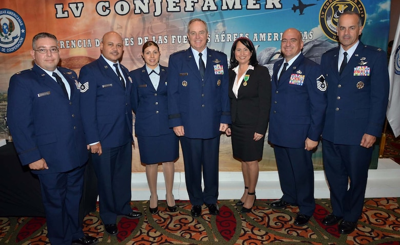 Air Force Chief of Staff Gen. Mark A. Welsh III, stands with Airmen from the System of Cooperation Among the American Air Forces at the group's annual Conference of American Air Chiefs in Mexico City, June 25, 2015. SICOFAA is a collection of more than 20 air forces from throughout the Western Hemisphere who work together to enhance interoperability and relationships across the region. (U.S. Air Force photo by Capt. Bryan Bouchard)