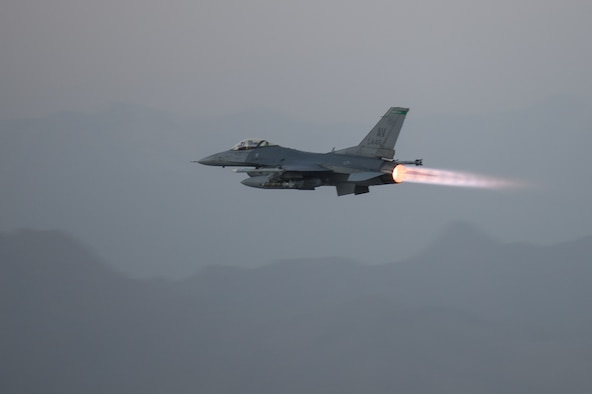 Capt. Dakota Olsen, a 555th Expeditionary Fighter Squadron F-16 Fighting Falcon pilot, takes off on a combat airpower mission June 17, 2015, at Bagram Airfield, Afghanistan. Olsen's job was to provide close air support and armed overwatch for military personnel in Afghanistan. Various sorties and missions are flown throughout the country on a daily basis, providing airpower to ensure a safe and secure environment for personnel at Bagram Airfield. (U.S. Air Force photo/Tech. Sgt. Joseph Swafford)
