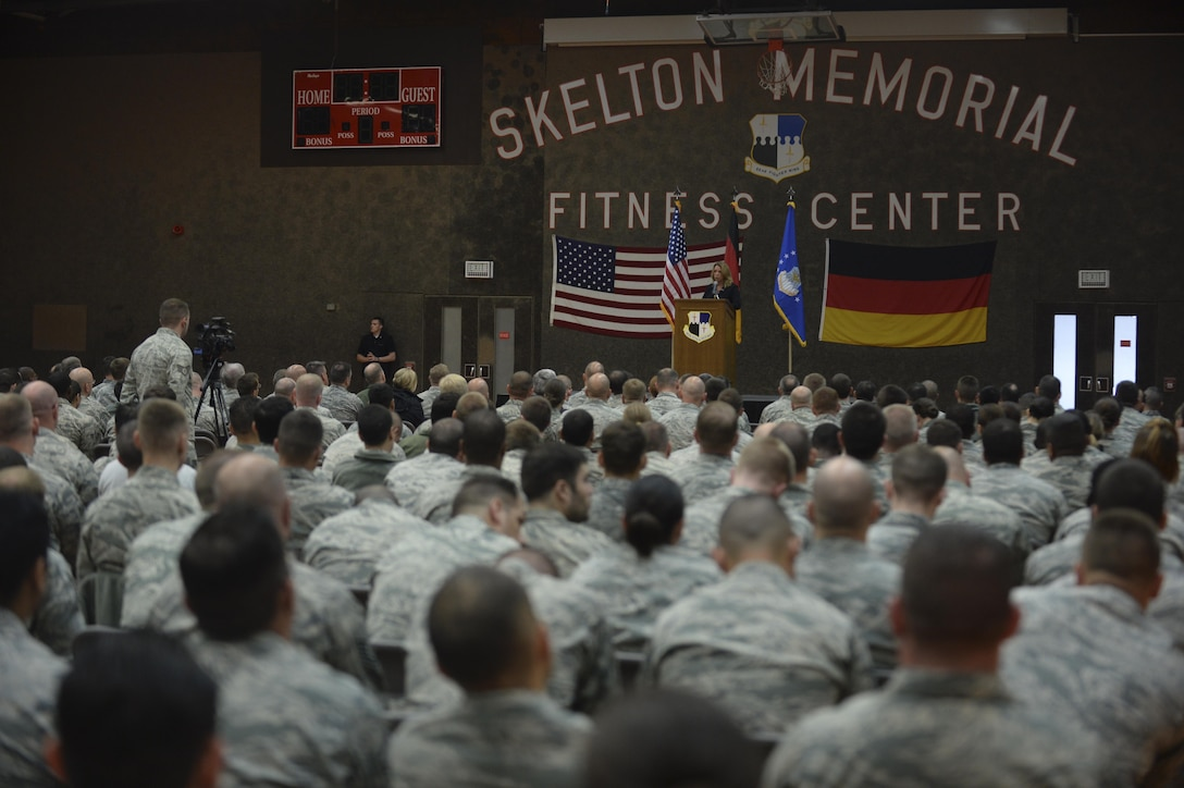 Secretary of the Air Force Deborah Lee James speaks to Airmen during an all call at Spangdahlem Air Base, Germany, June 23, 2015. The secretary completed a visit of installations through Europe June 24, 2015, to meet Airmen, community leaders and allied and partner nation defense chiefs. (U.S. Air Force photo/Staff Sgt. Joe W. McFadden)
