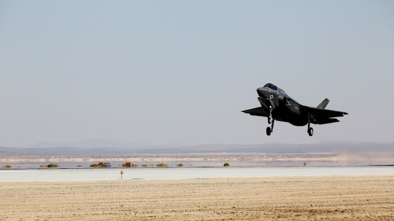An F-35B Lightning II with Marine Operational and Test Evaluation Squadron 22 prepares to touch down aboard Edwards Air Force Base, California, Oct. 9, 2014. This is the squadron's first F-35 Lightning II.