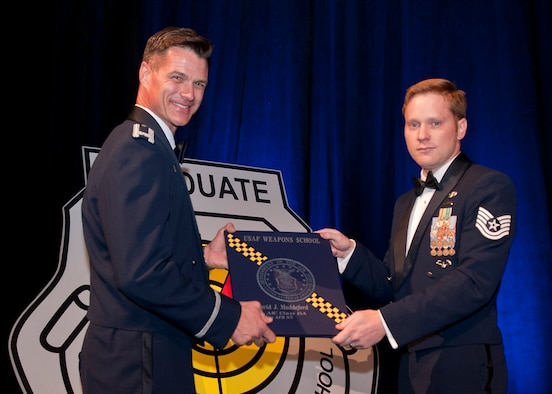 "U.S. Air Force Tech. Sgt. David Maddeford receives his Weapons School diploma from Col. Michael Drowley, Commandant, for USAF Weapons School, during a ceremony held June 27, 2015, in Las Vegas, Nev. Maddeford, a Joint Terminal Attack Controller (JTAC) with the 118th Air Support Operations Squadron, New London, N.C., was also one of five enlisted JTACs who made history by being the first enlisted graduates awarded the coveted graduate patch and enter into an elite group of ""patch wearer"" brethren. (U.S. Air Force photo by Senior Airman Joshua Kleinholz/Released)"