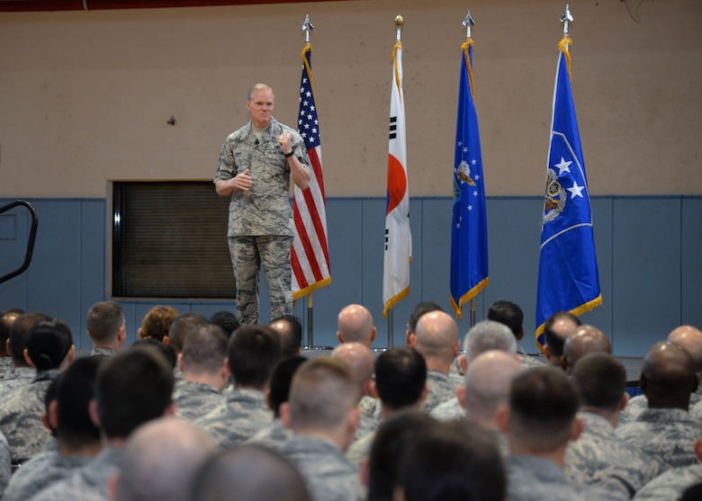 Chief Master Sgt. of the Air Force James Cody, speaks at an all call July 2, 2015, at Osan Air Base, Republic of Korea. Every time he met with Airmen, Cody discussed the Korean-American relationship and the global impact both nations play throughout the Pacific. (U.S. Air Force photo by Staff Sgt. Benjamin Sutton/Released)